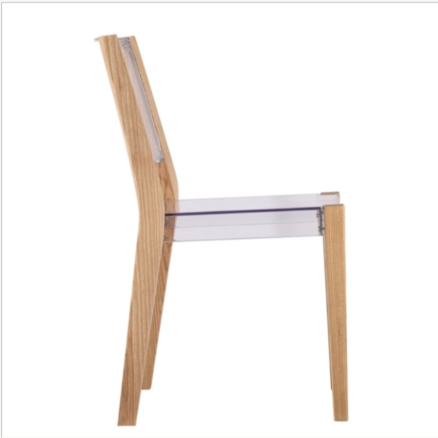 Side Chair In Natural Wood & Transparent Seat - image-1