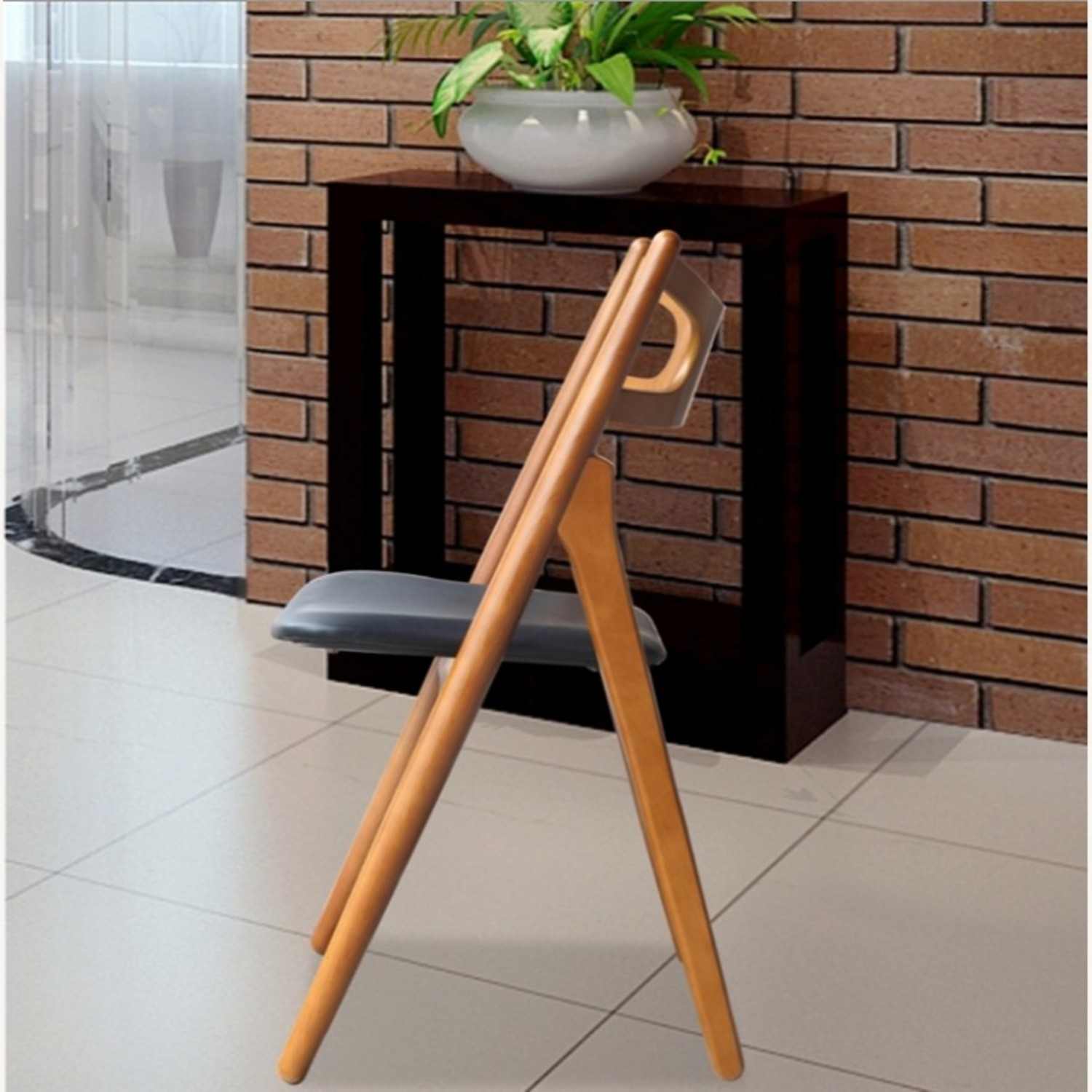 Modern Dining Chair In Walnut Wood Frame - image-5