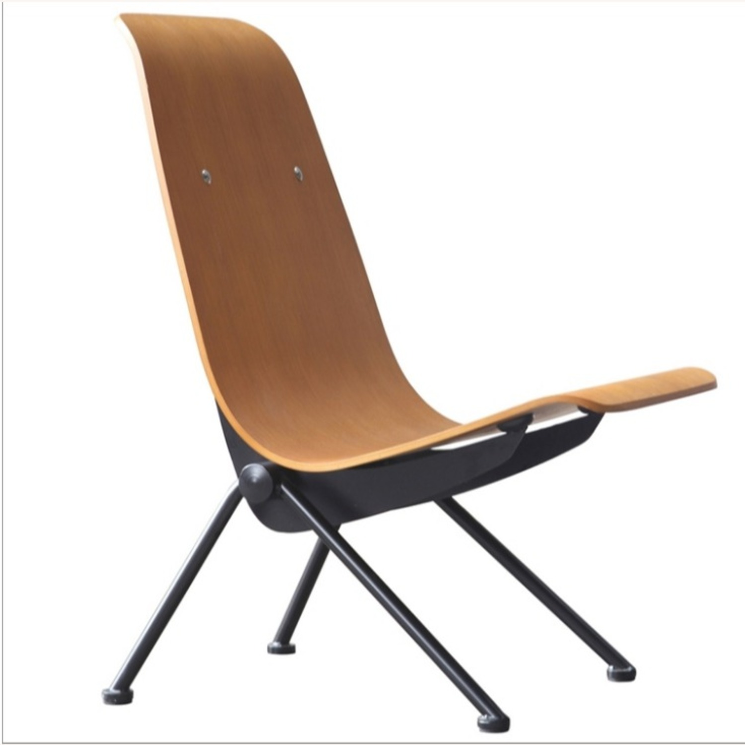 Contemporary Side Chair Crafted In Walnut Plywood - image-0
