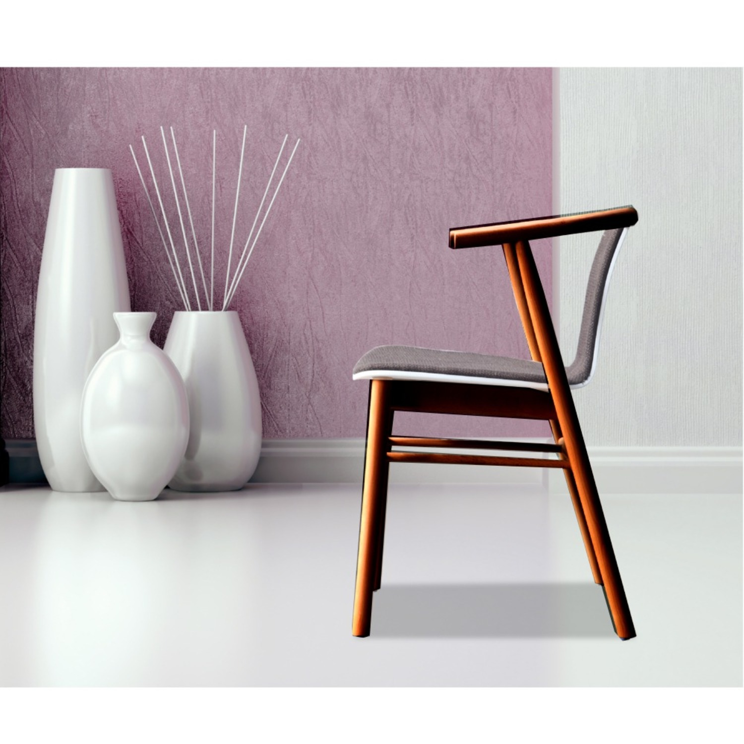 Side Chair In Walnut Wood Frame W/ Cotton Seat - image-5