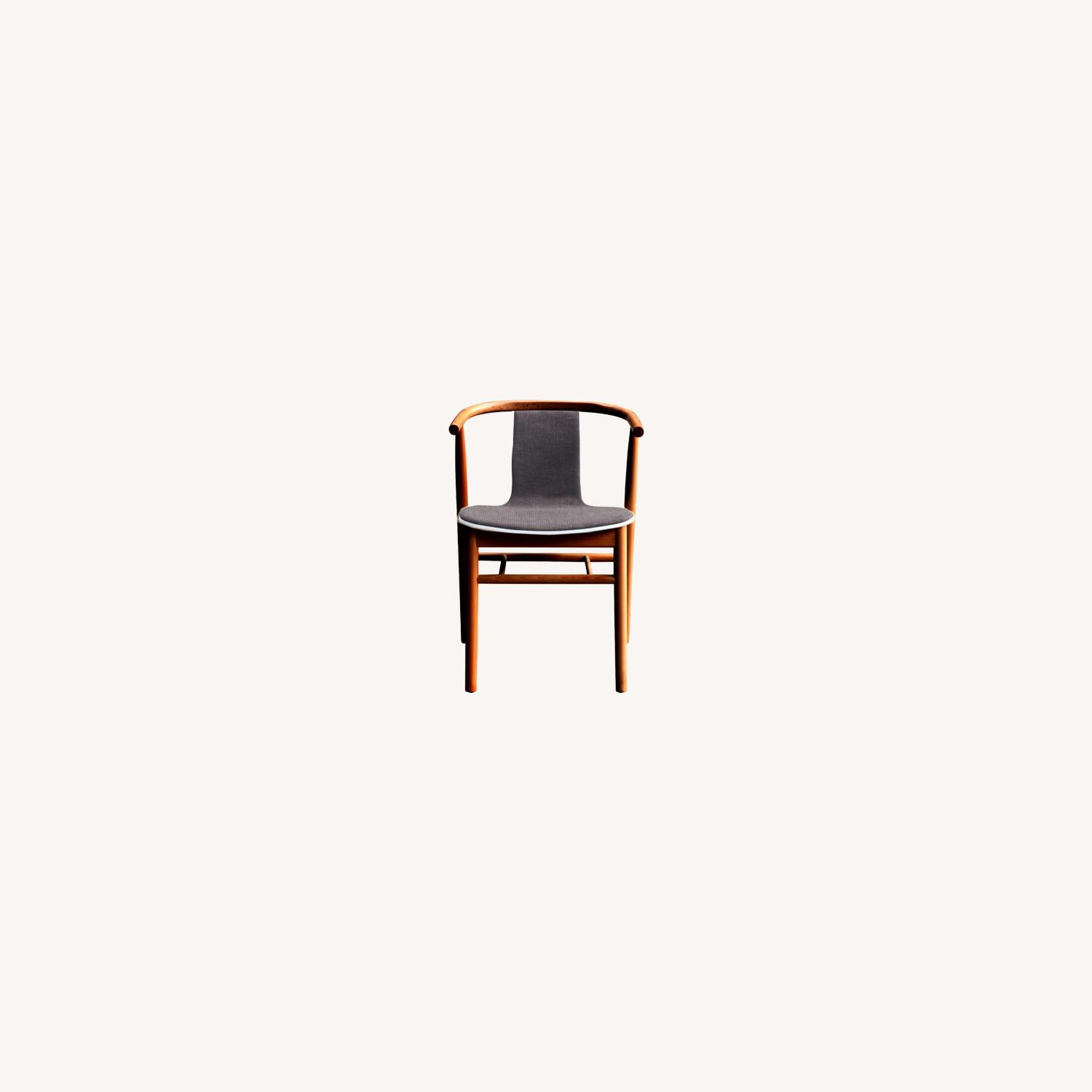 Side Chair In Walnut Wood Frame W/ Cotton Seat - image-6