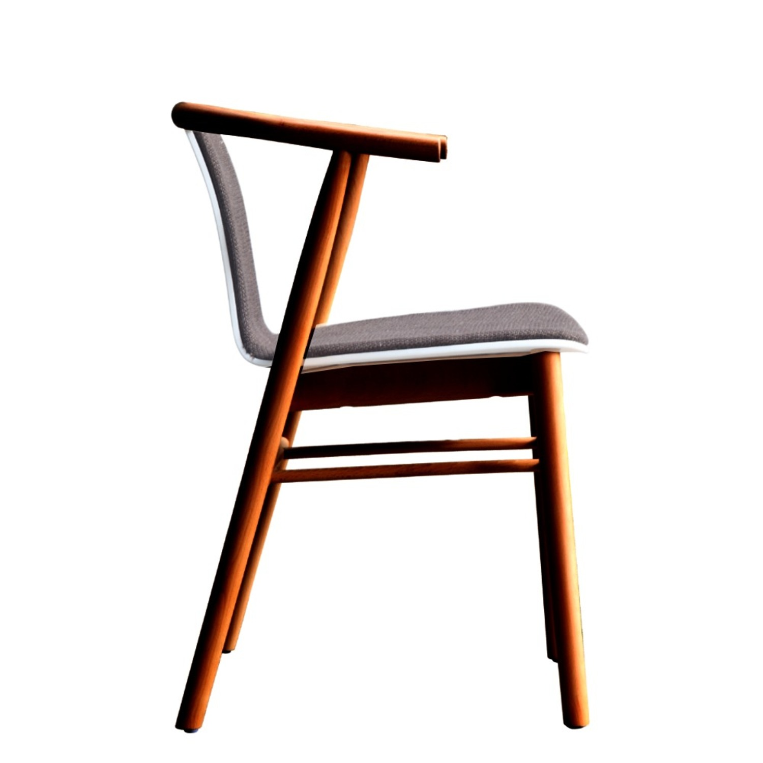 Side Chair In Walnut Wood Frame W/ Cotton Seat - image-1