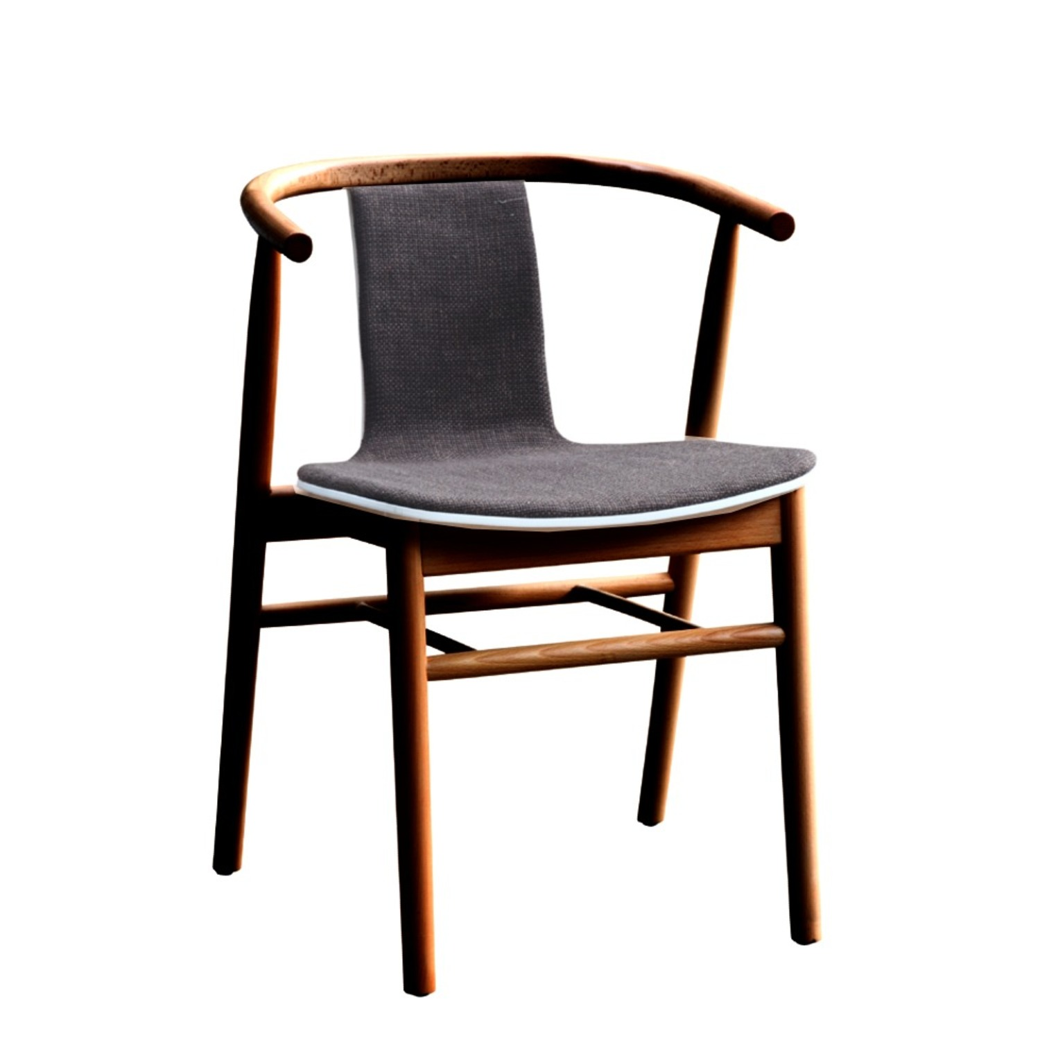 Side Chair In Walnut Wood Frame W/ Cotton Seat - image-0