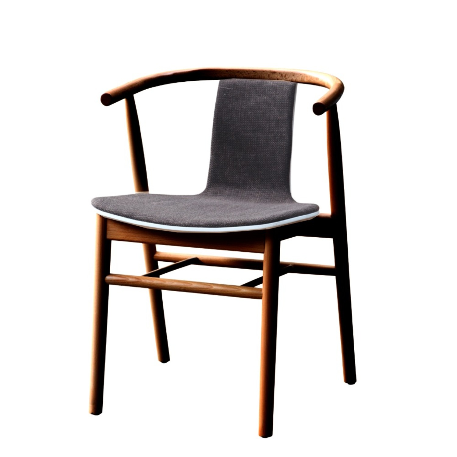 Side Chair In Walnut Wood Frame W/ Cotton Seat - image-3