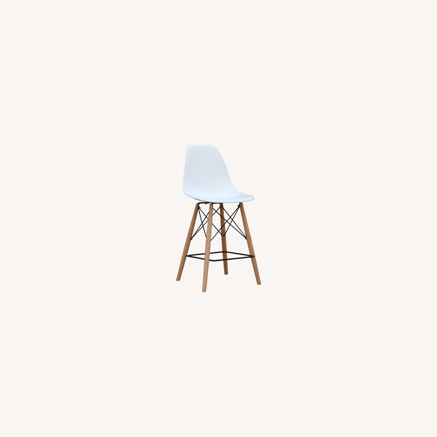 Counter Chair In White ABS Seat W/ Square Base - image-5