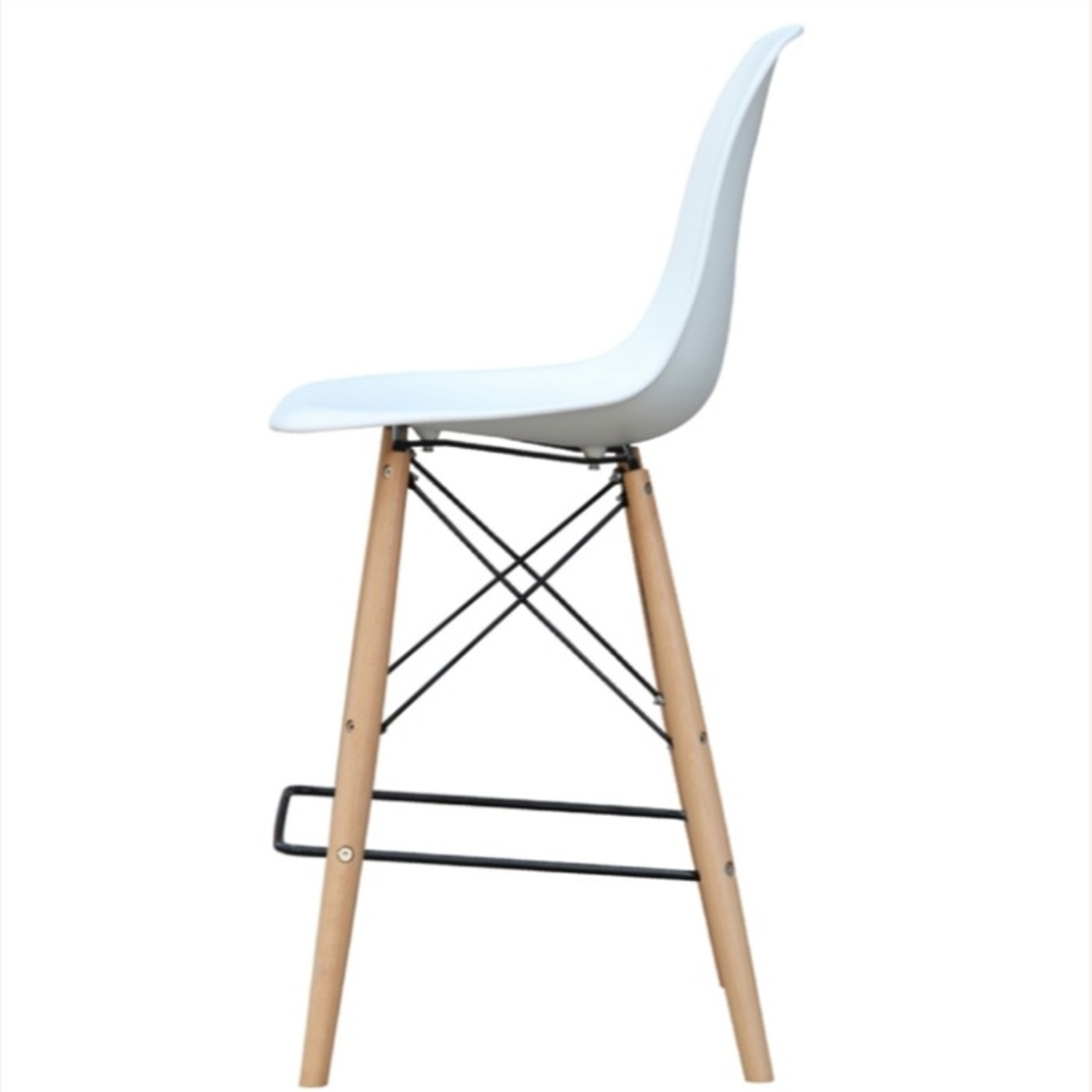 Counter Chair In White ABS Seat W/ Square Base - image-3