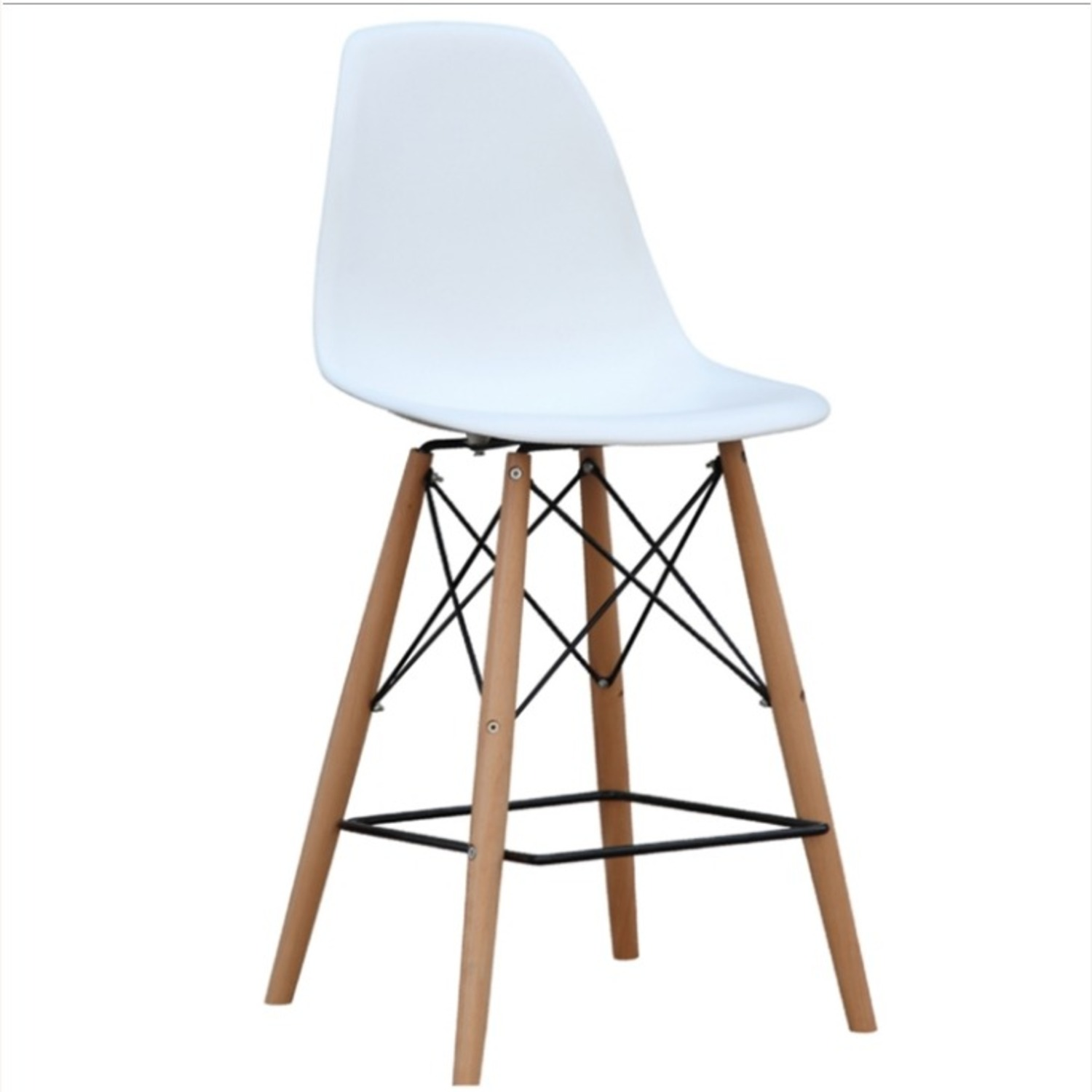 Counter Chair In White ABS Seat W/ Square Base - image-0