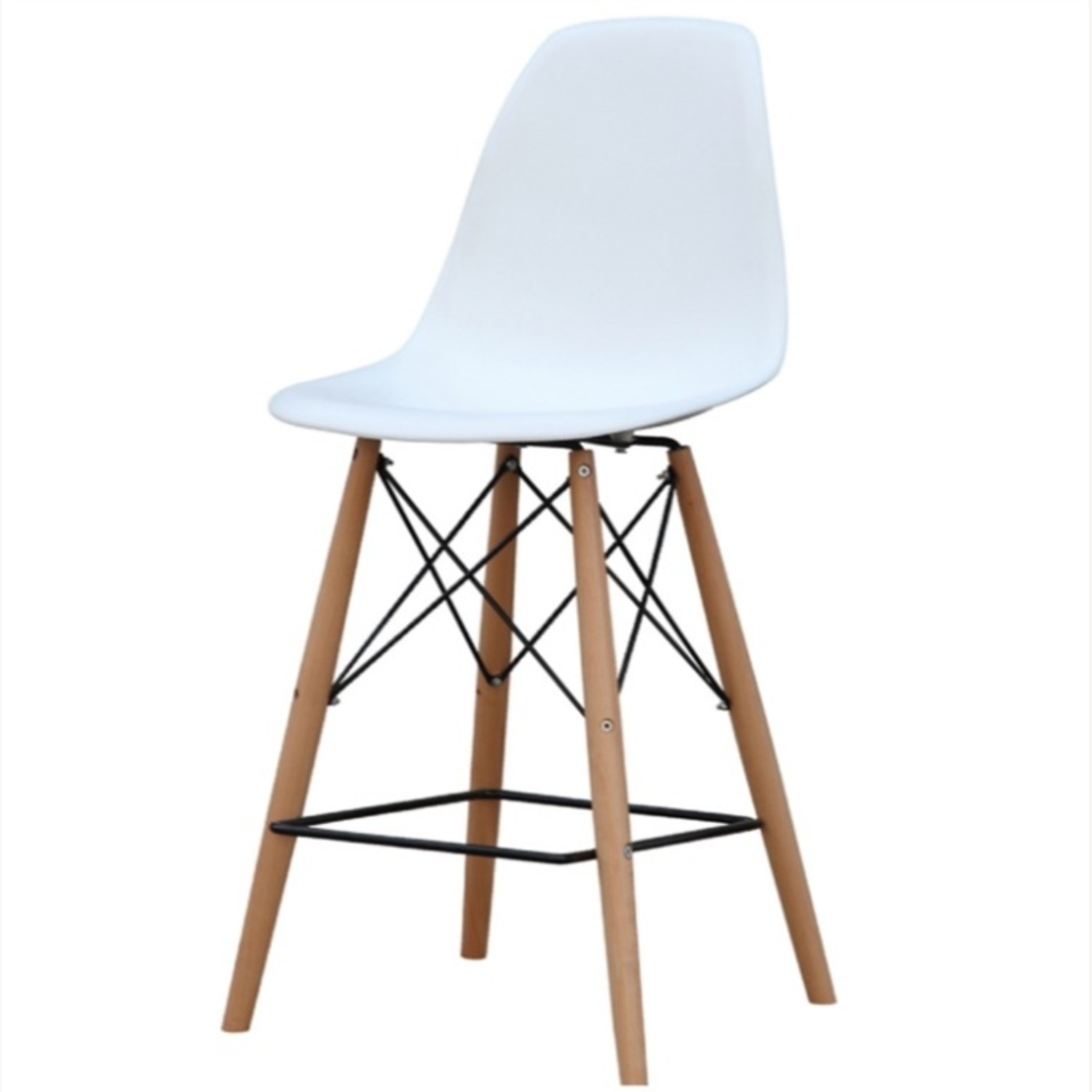 Counter Chair In White ABS Seat W/ Square Base - image-4