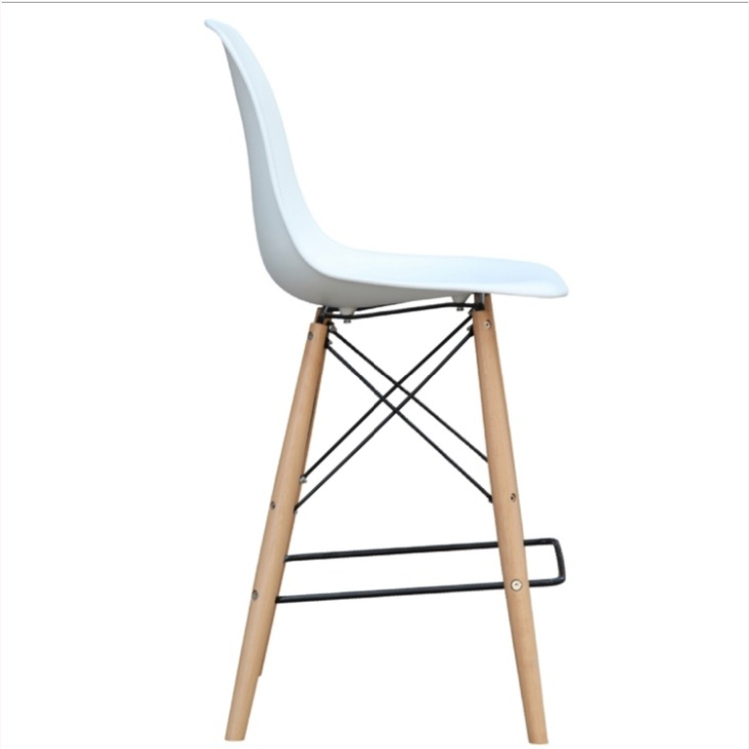 Counter Chair In White ABS Seat W/ Square Base - image-1