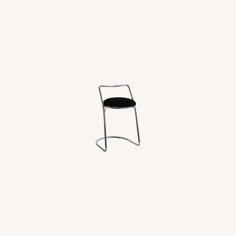 Bar Stool In Black PU Leather & Chrome Base - image-5