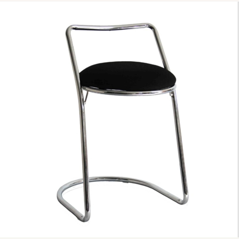 Bar Stool In Black PU Leather & Chrome Base - image-0