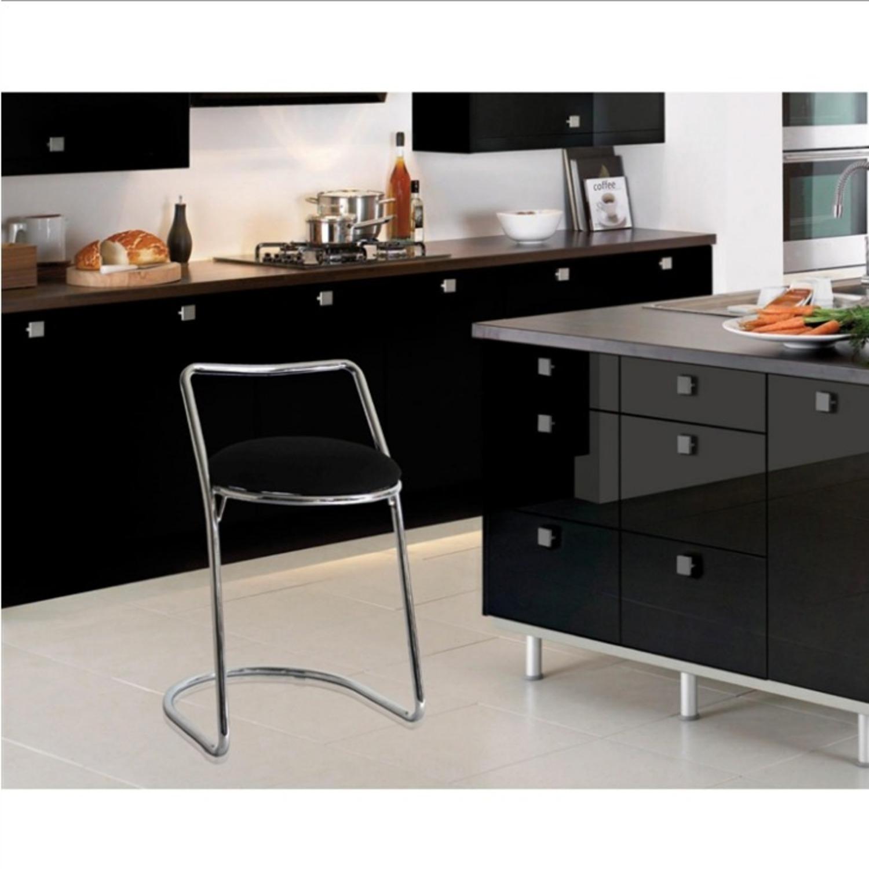 Bar Stool In Black PU Leather & Chrome Base - image-4