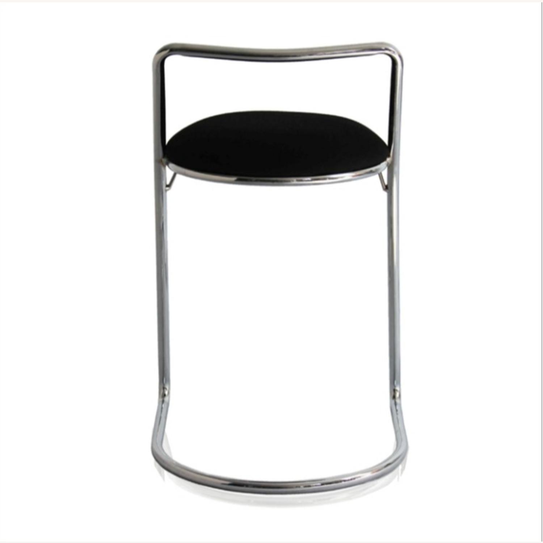 Bar Stool In Black PU Leather & Chrome Base - image-2