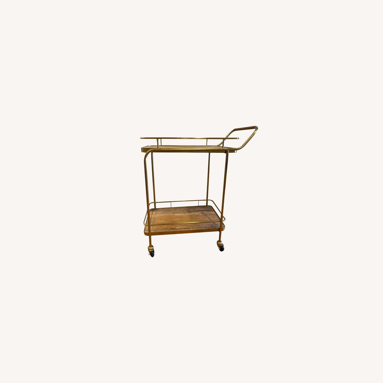 Target Metal Wood and Leather Bar Cart - image-0