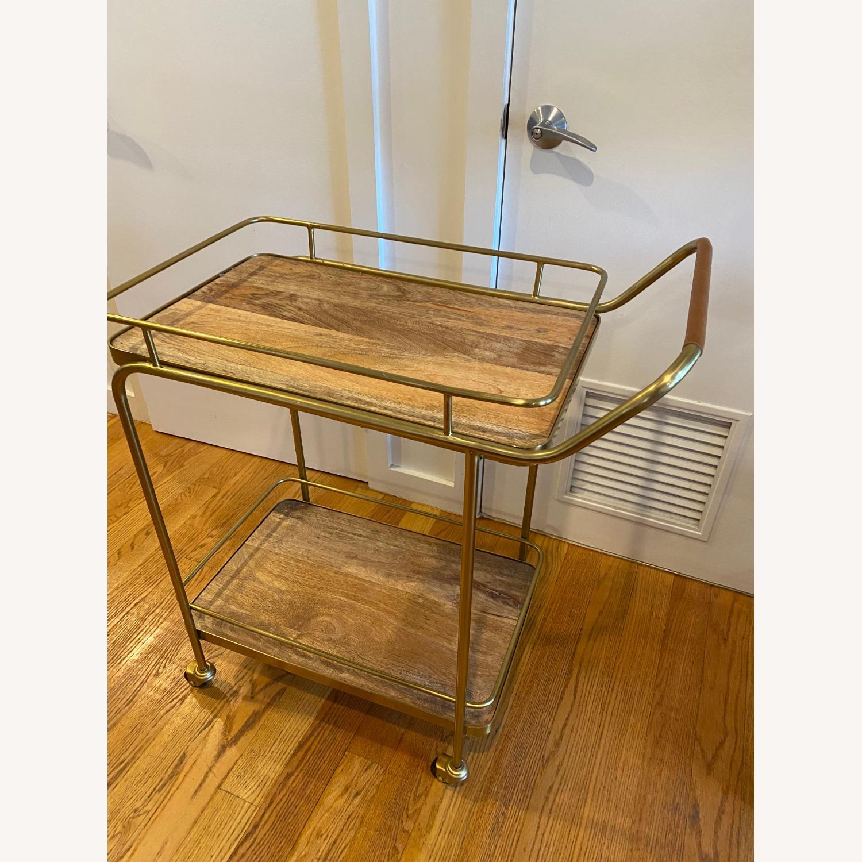 Target Metal Wood and Leather Bar Cart - image-3