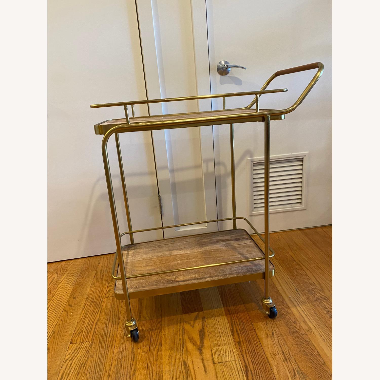 Target Metal Wood and Leather Bar Cart - image-1