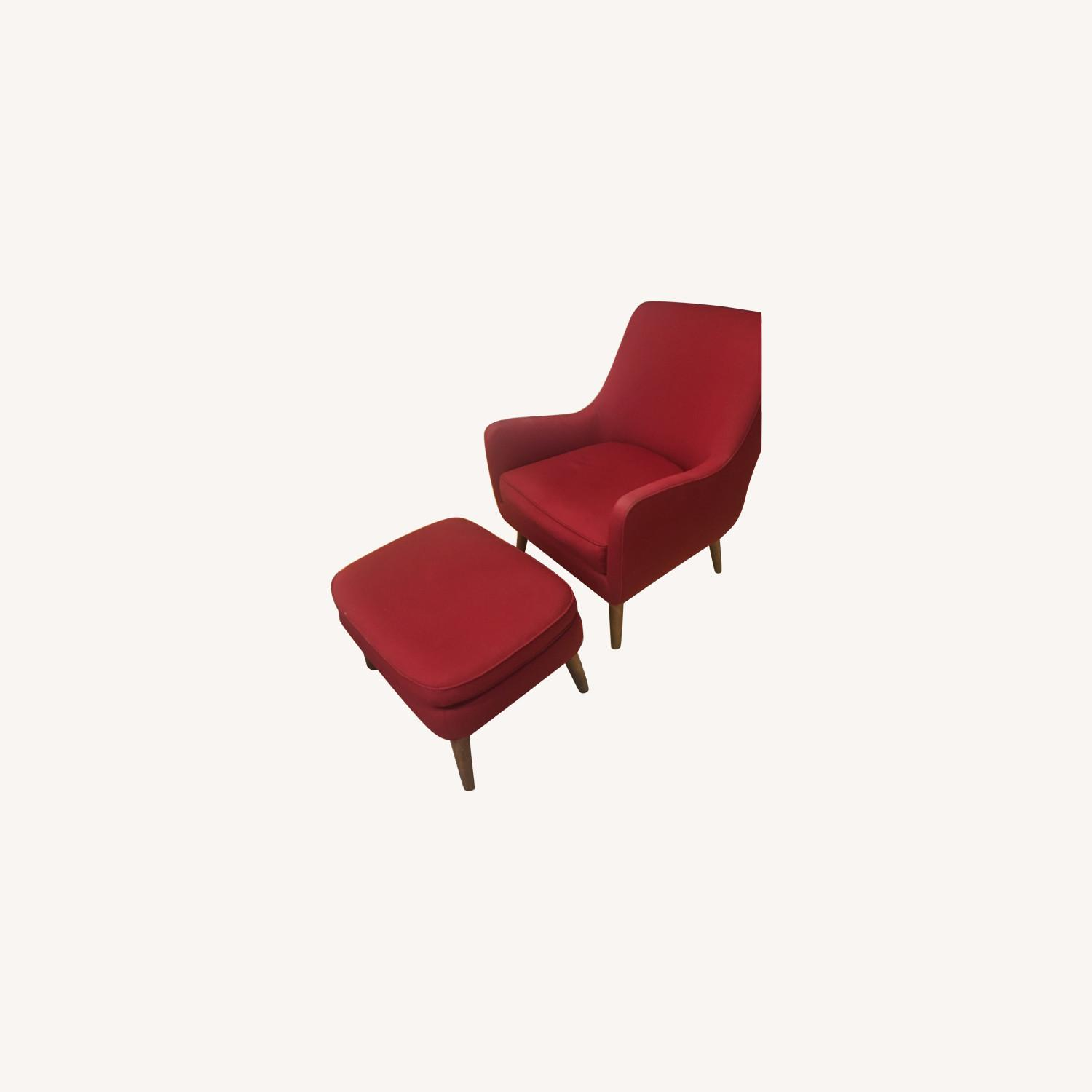 Room & Board Red Quinn Chair and Ottoman - image-0