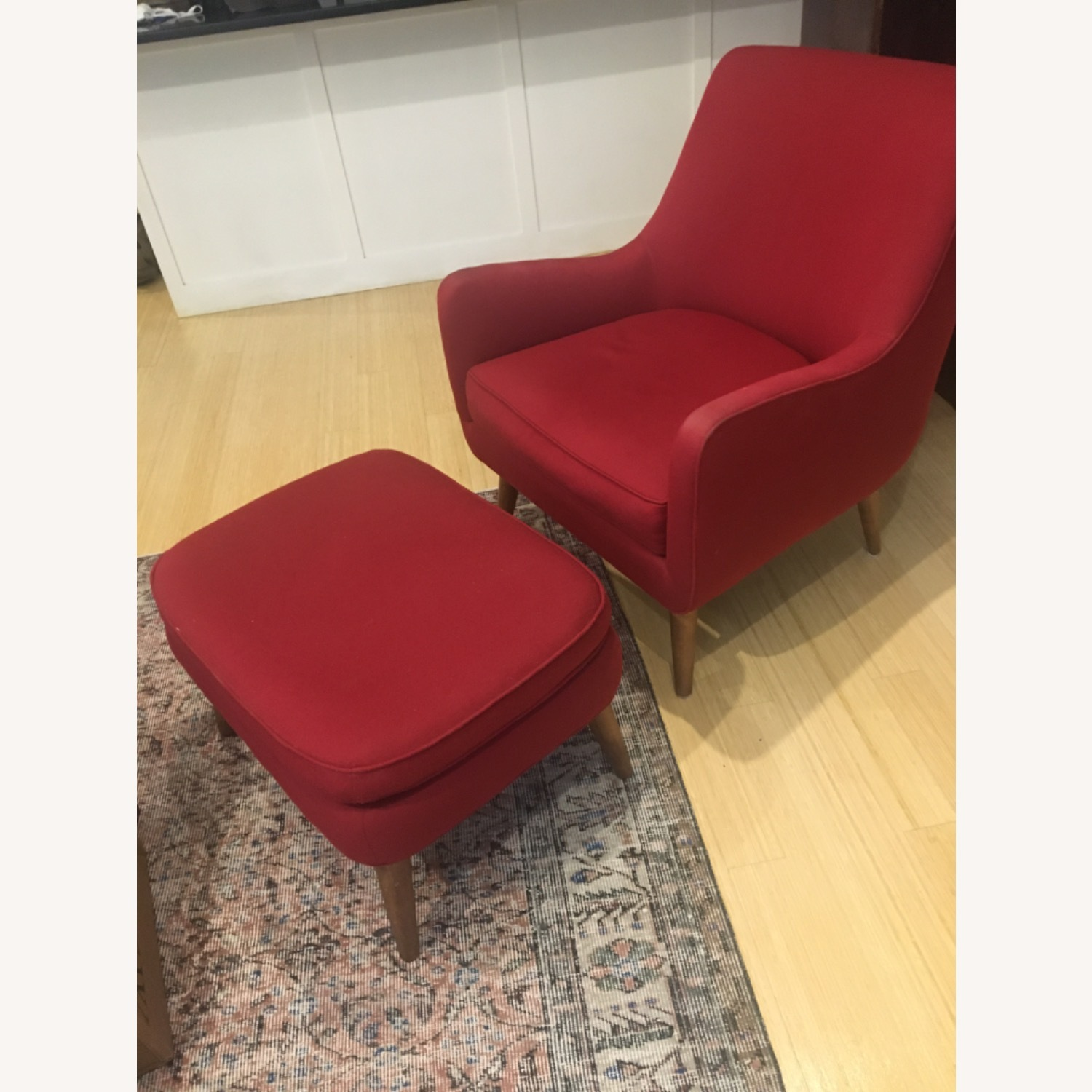 Room & Board Red Quinn Chair and Ottoman - image-1