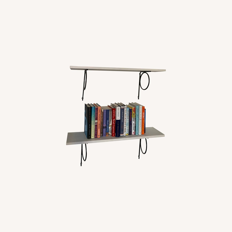 IKEA White Bookshelves with Black Hardware - image-0