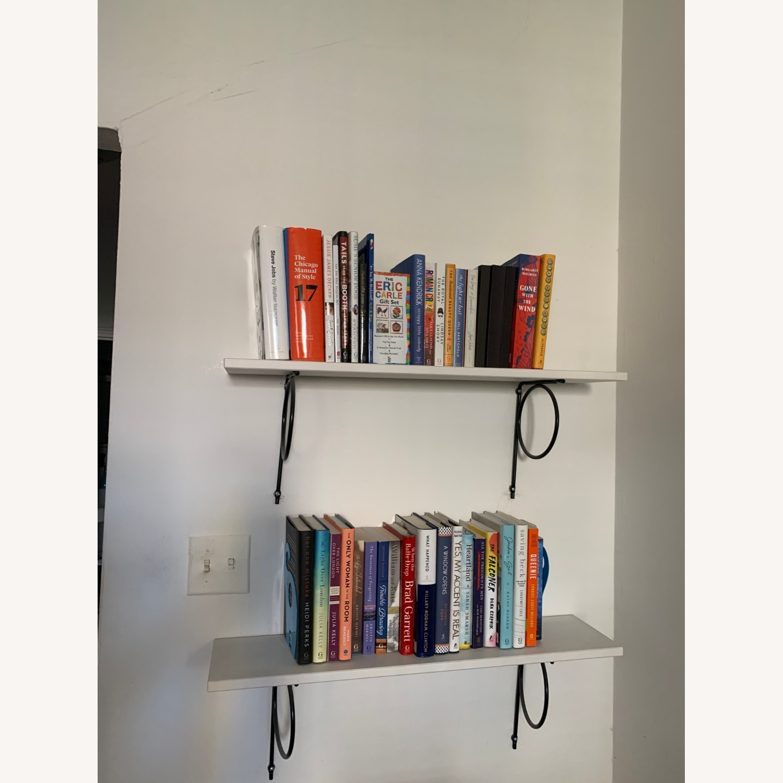 IKEA White Bookshelves with Black Hardware - image-1