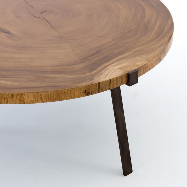 West Elm Natural Wood Round Coffee Table Aptdeco