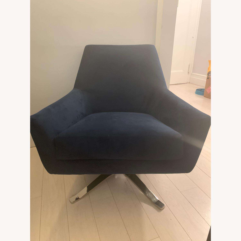 West Elm Lucas Swivel Chair in Blue - image-0