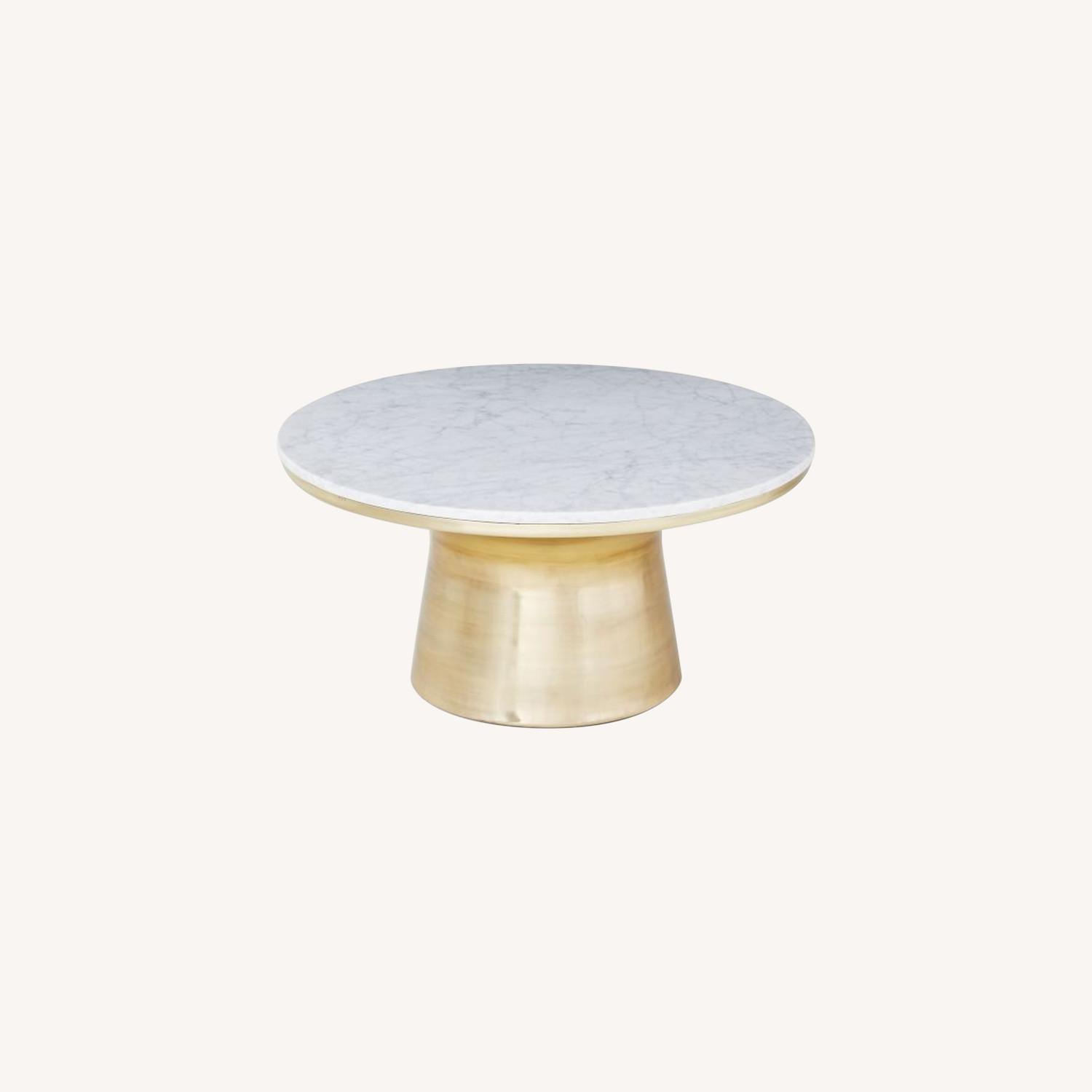 West Elm Marble Topped Pedestal Coffee Table - image-0