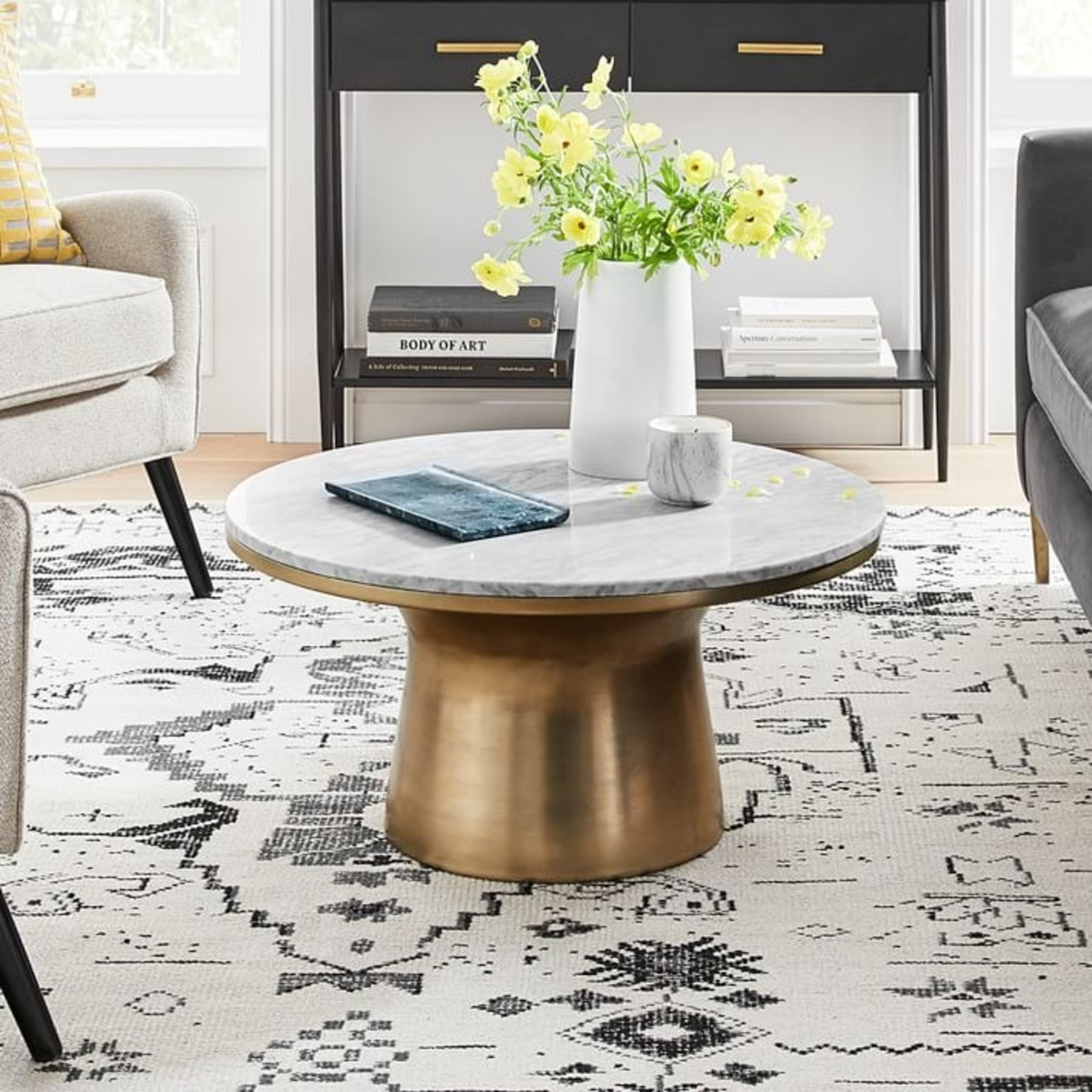 West Elm Marble Topped Pedestal Coffee Table - image-2