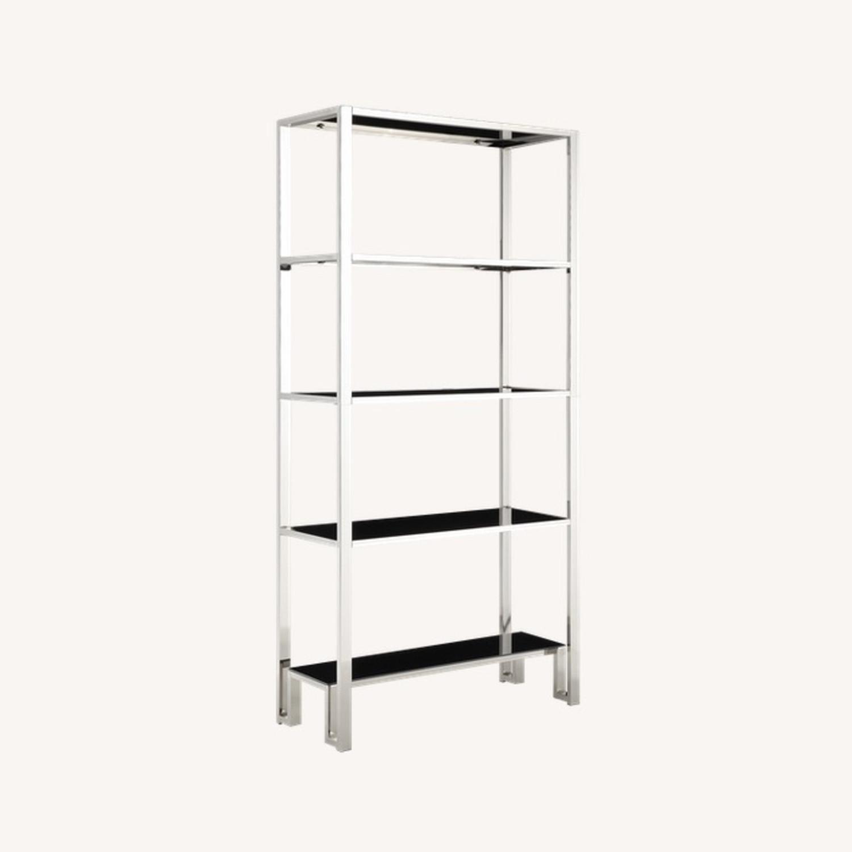InspireQ Black Glass & Chrome Metal Bookcase - image-0