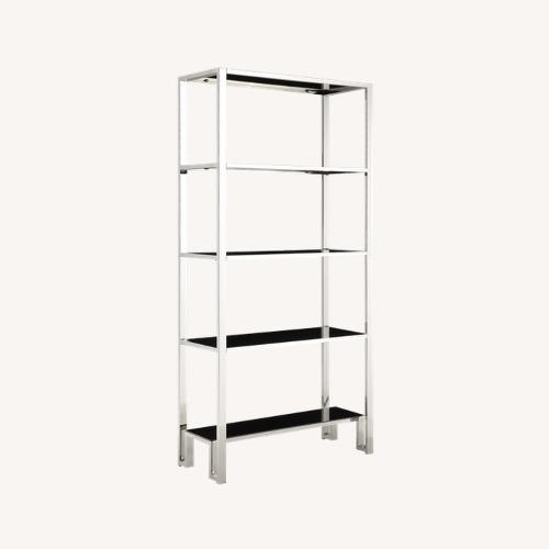 Used InspireQ Black Glass & Chrome Metal Bookcase for sale on AptDeco