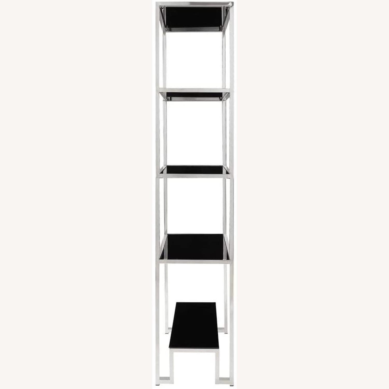 InspireQ Black Glass & Chrome Metal Bookcase - image-2