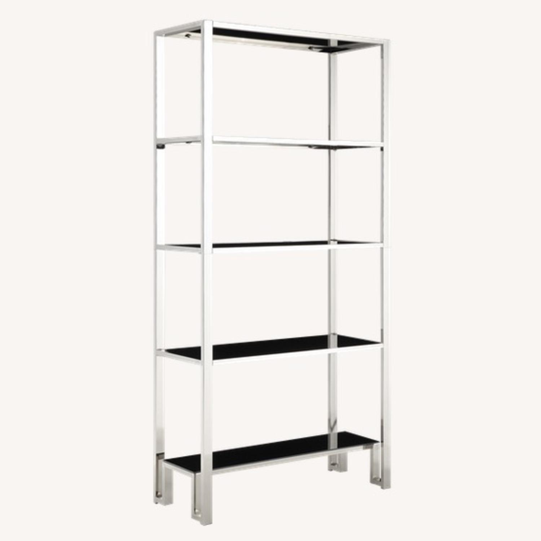 InspireQ Black Glass & Chrome Metal Bookcase - image-1