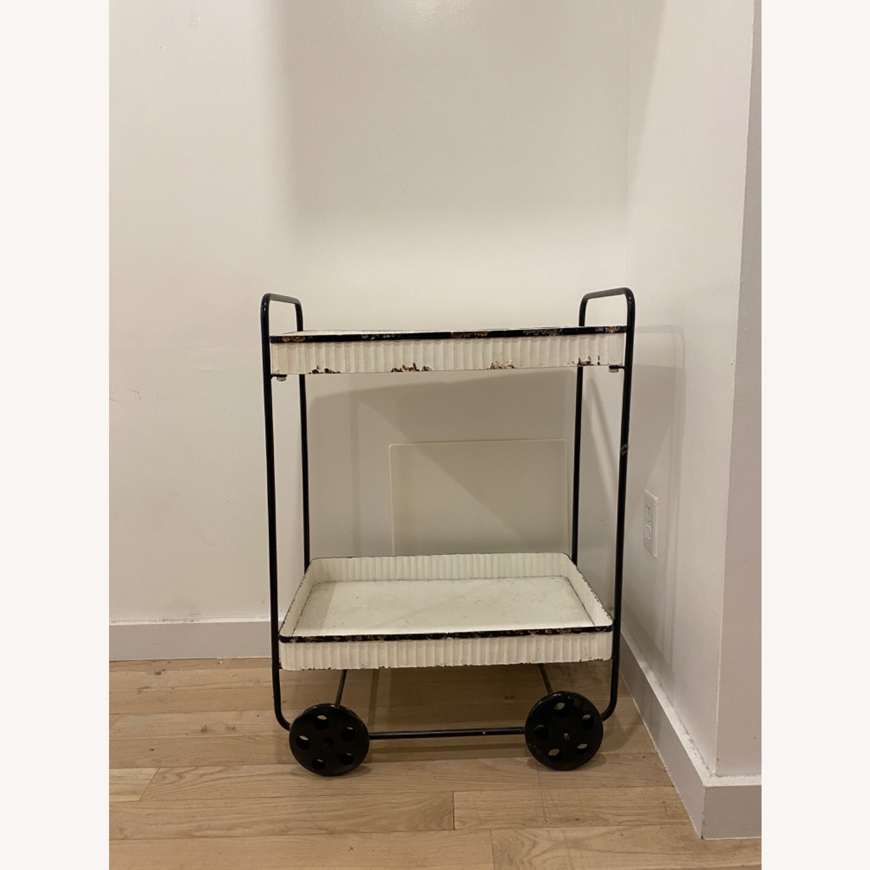 Vintage White Black Bar Cart - image-3