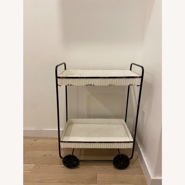 Vintage White Black Bar Cart - image-0