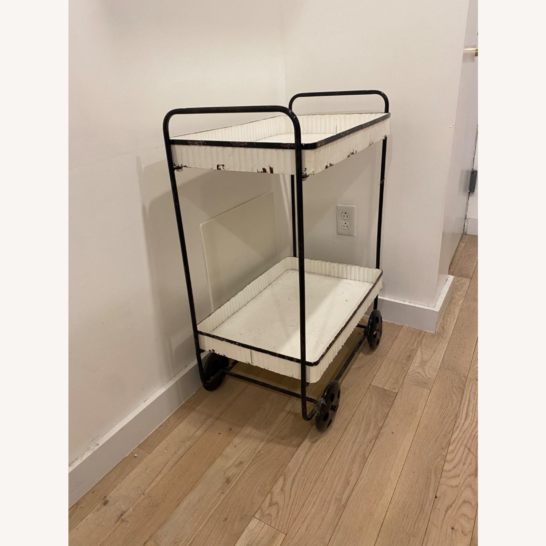Vintage White Black Bar Cart - image-1
