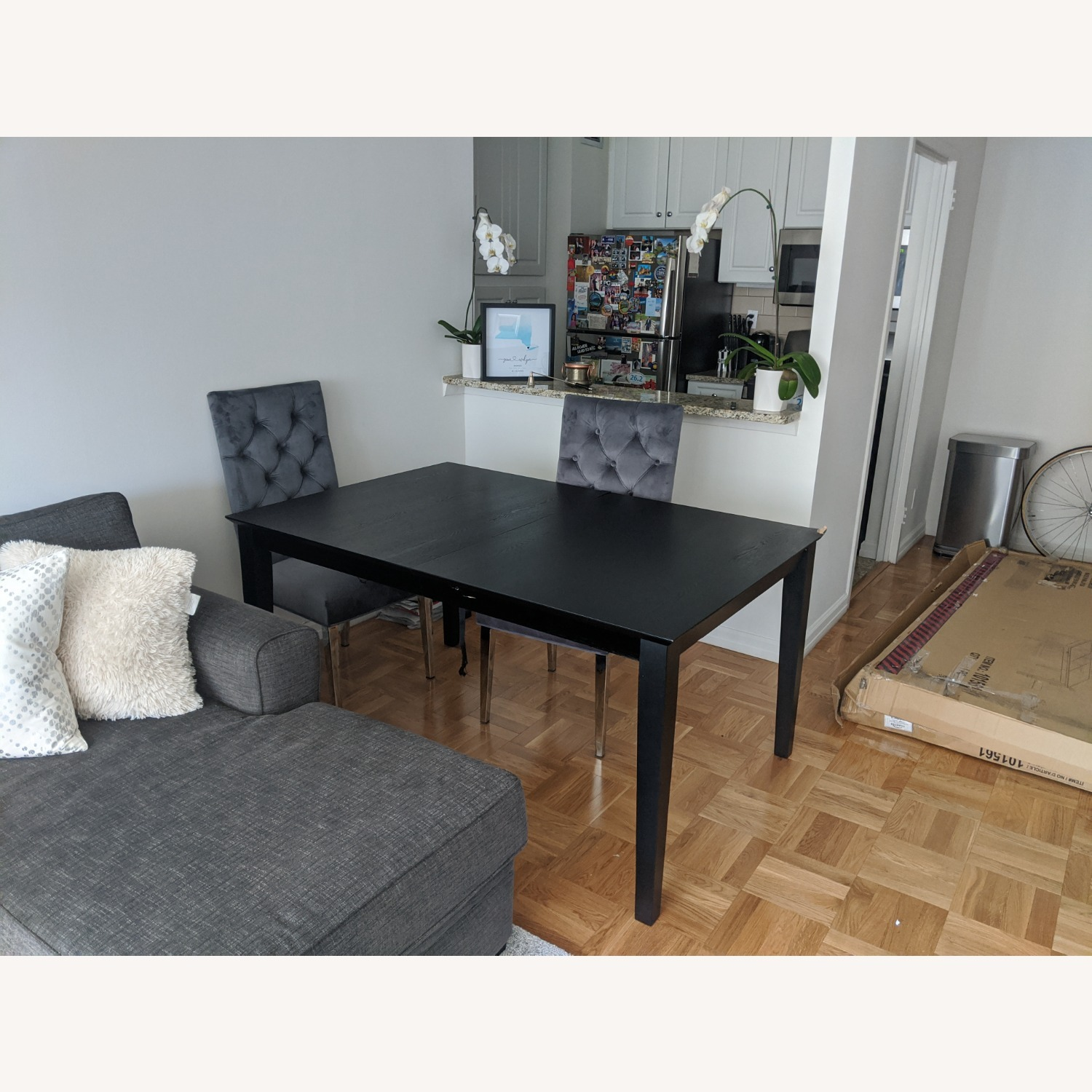 Coaster Fine Black Wood Dining Table with Expandable Leaf - image-4