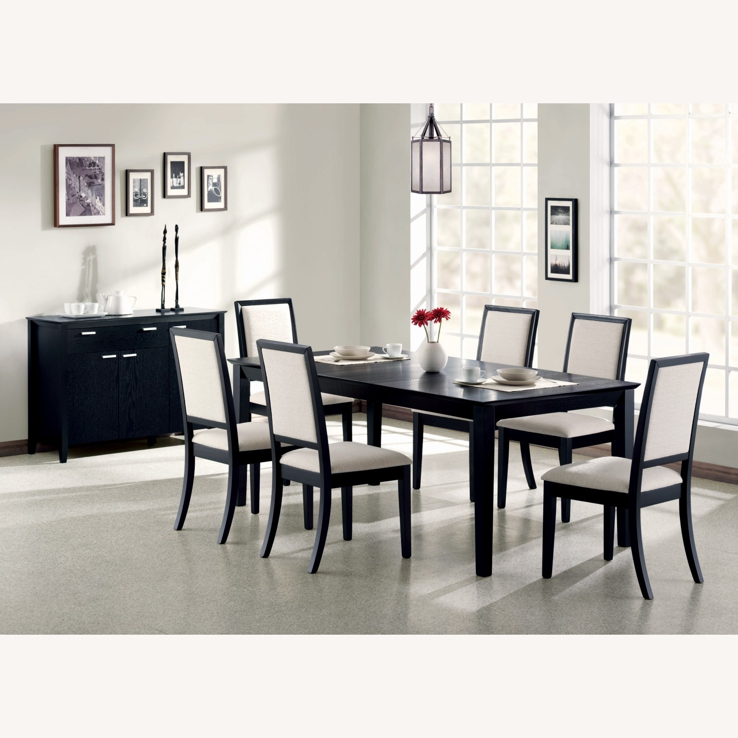 Coaster Fine Black Wood Dining Table with Expandable Leaf - image-2