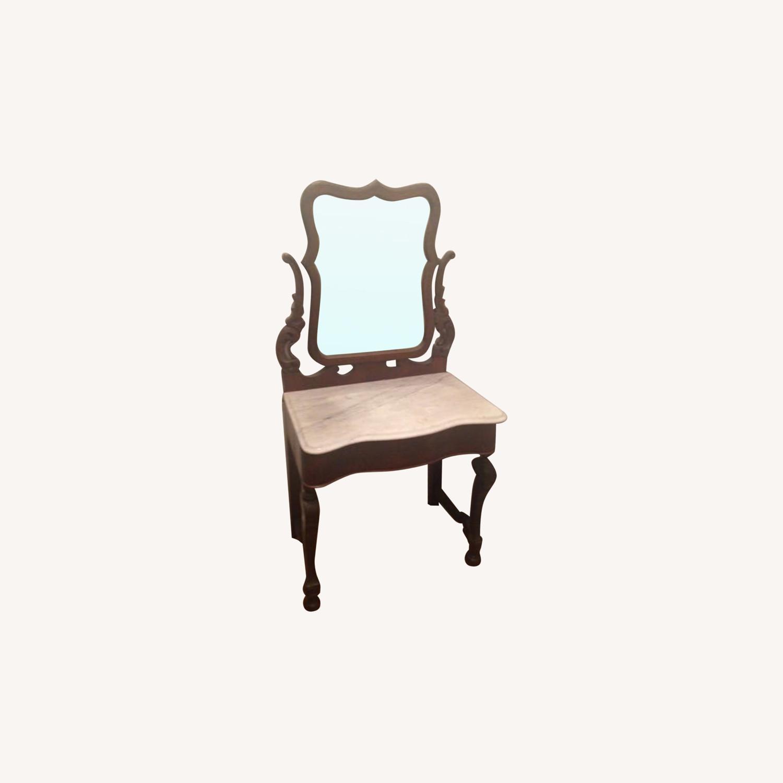 Marble Top Walnut Victorian Vanity - image-0
