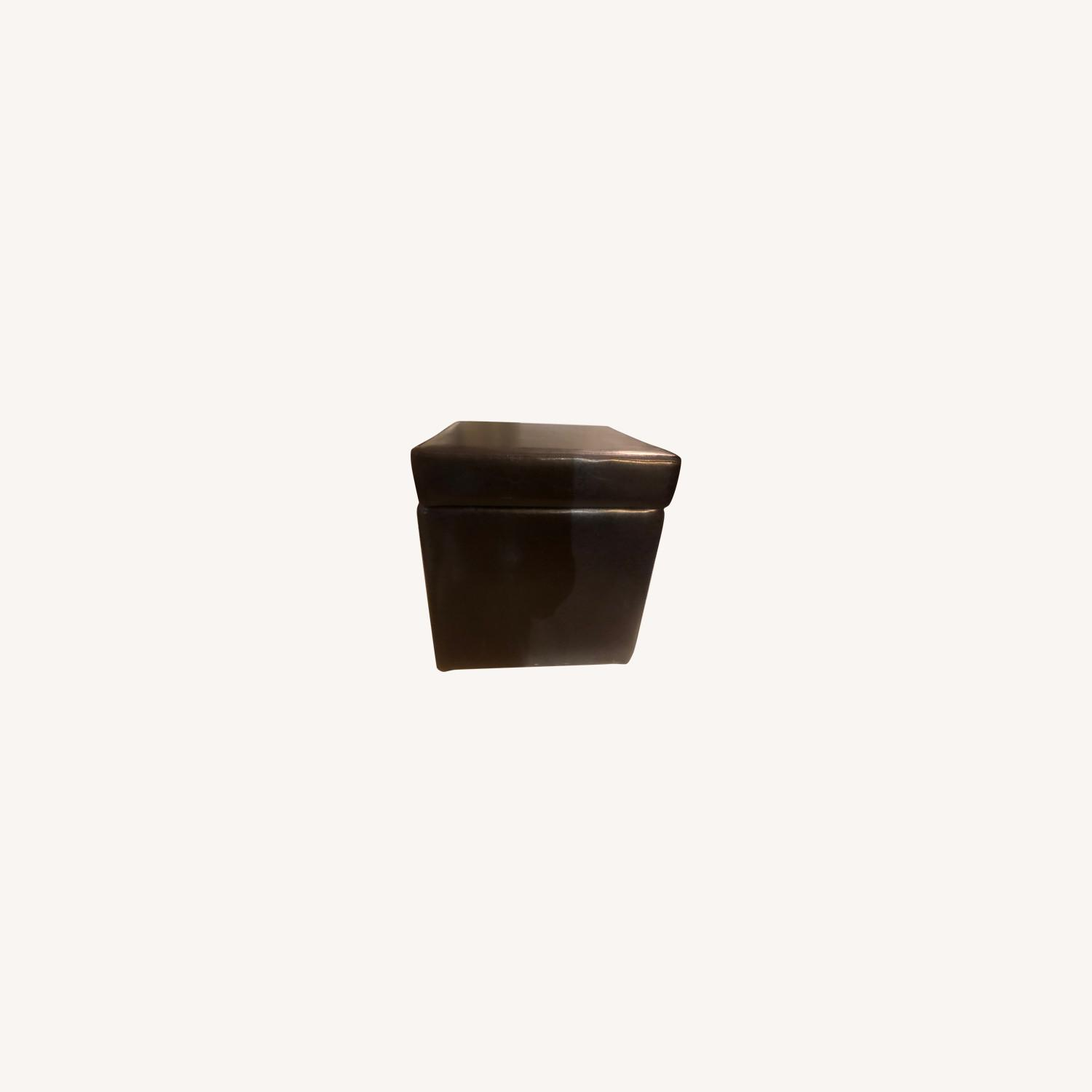 Brown Leather Ottoman Storage Cubes - image-0