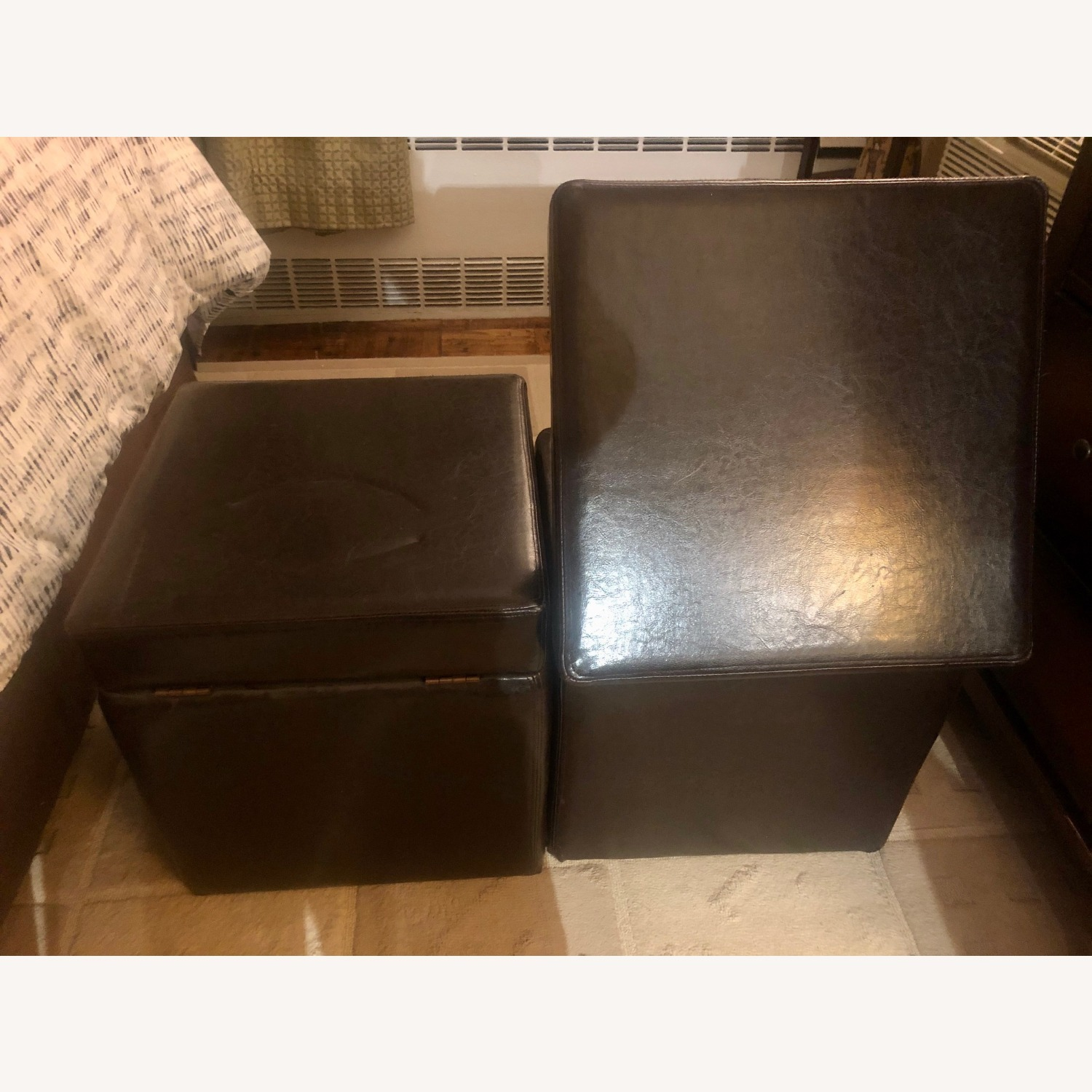 Brown Leather Ottoman Storage Cubes - image-5