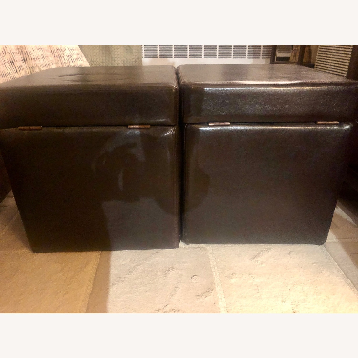 Brown Leather Ottoman Storage Cubes - image-4
