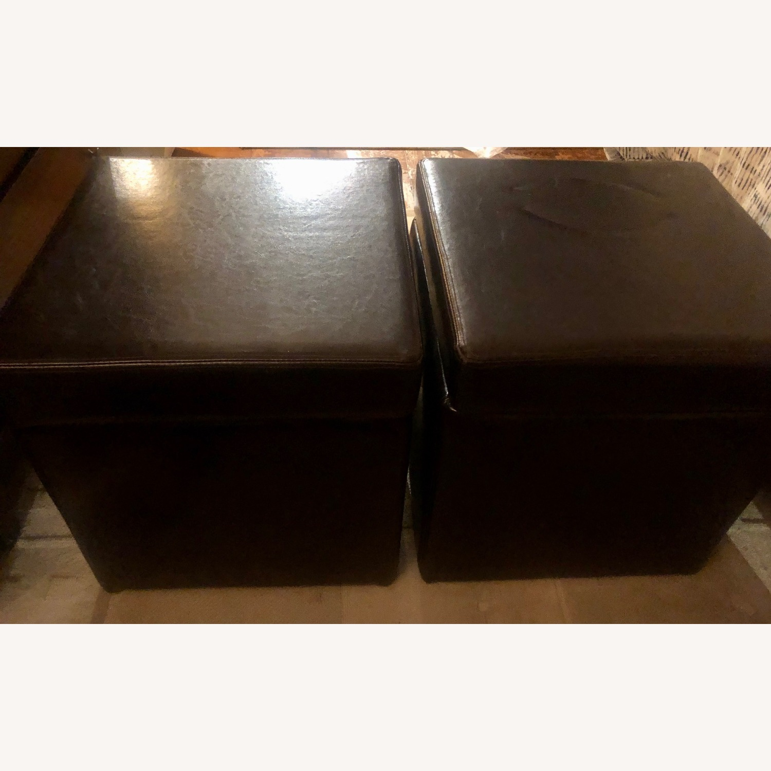 Brown Leather Ottoman Storage Cubes - image-2