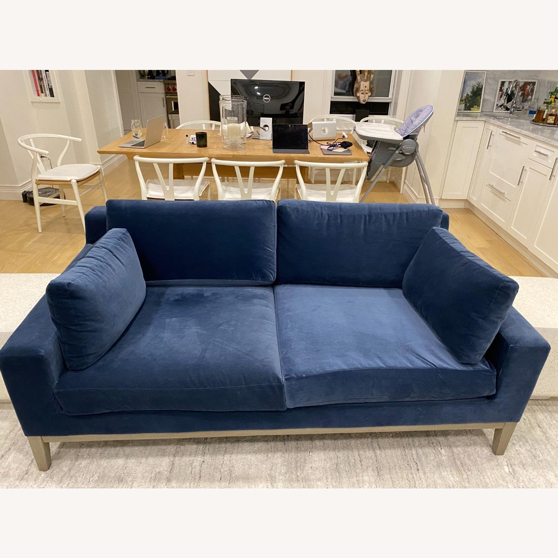 Restoration Hardware Blue Velvet 2 Seater Couch - image-2