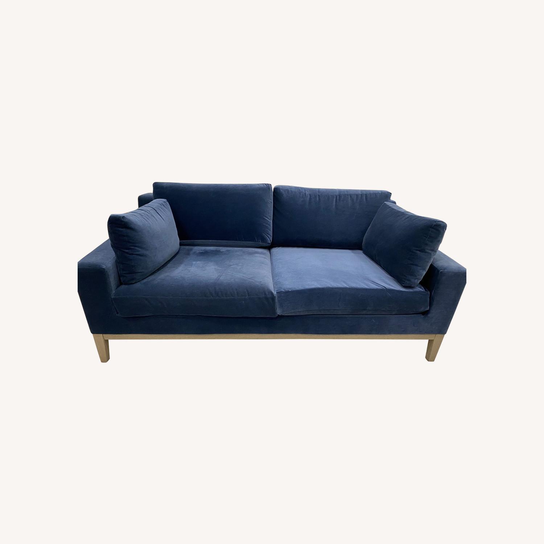Restoration Hardware Blue Velvet 2 Seater Couch - image-0