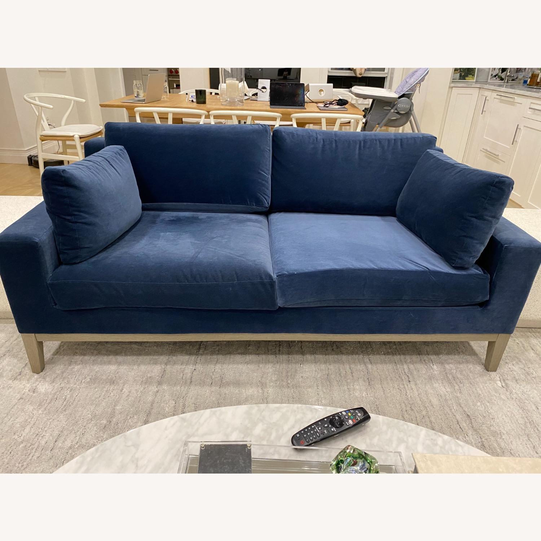 Restoration Hardware Blue Velvet 2 Seater Couch - image-1