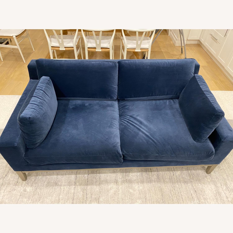 Restoration Hardware Blue Velvet 2 Seater Couch - image-4