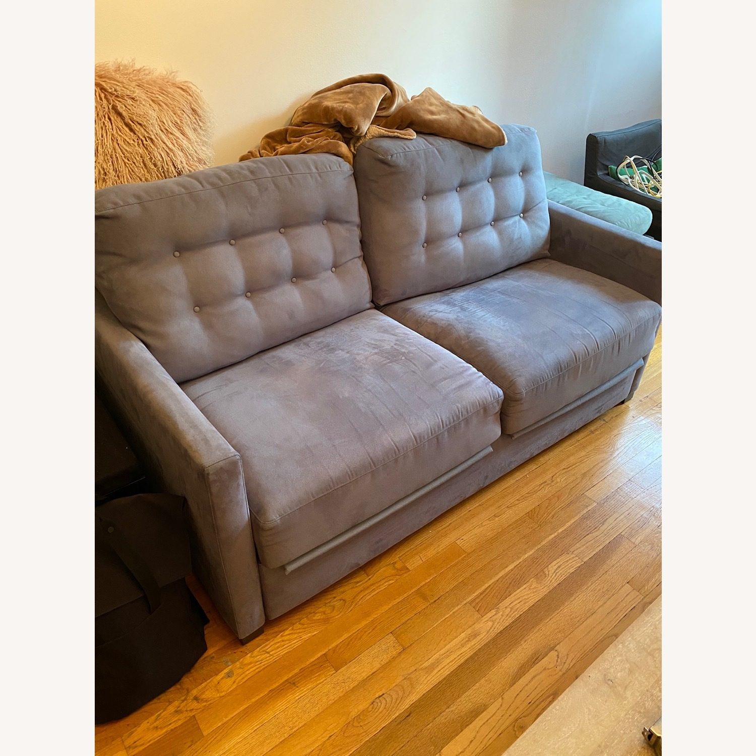 Raymour & Flanigan Pull-Out Memory Foam Sofa - image-1