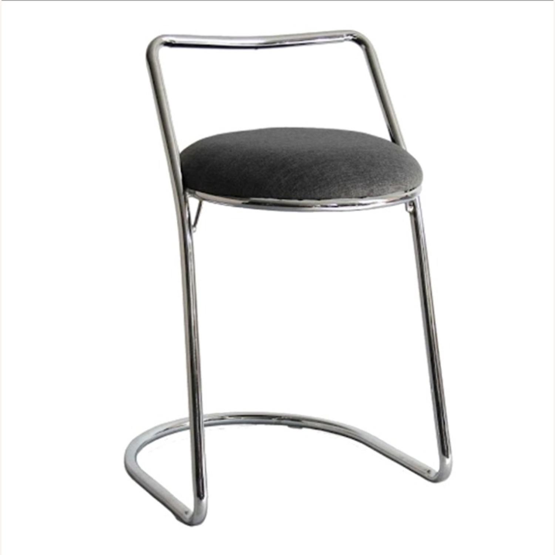 Bar Stool In Gray PU Leather & Chrome Base - image-0