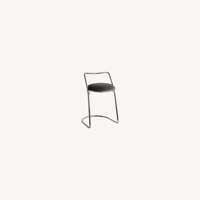 Bar Stool In Gray PU Leather & Chrome Base - image-5