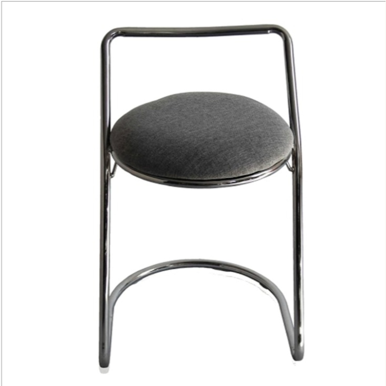 Bar Stool In Gray PU Leather & Chrome Base - image-3